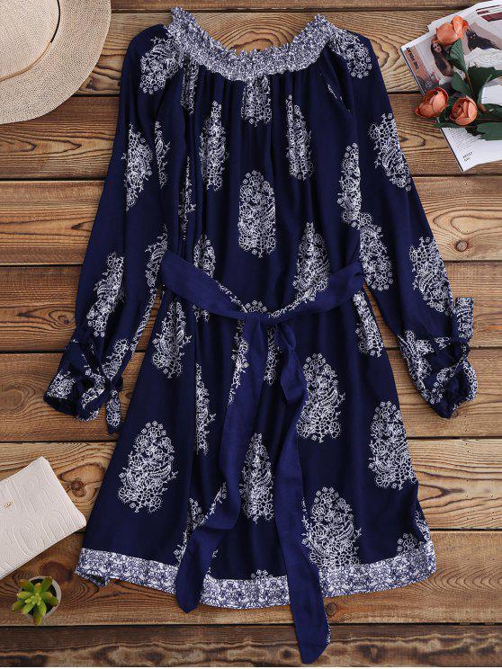 Impreso Hombro Vestido con cinturón - Azul Purpúreo S