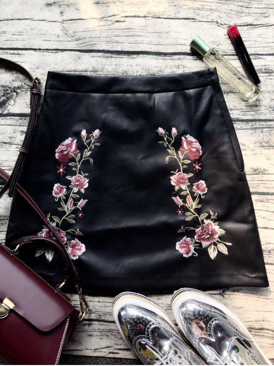 Imitación de cuero de la falda bordada de la flor - Negro L