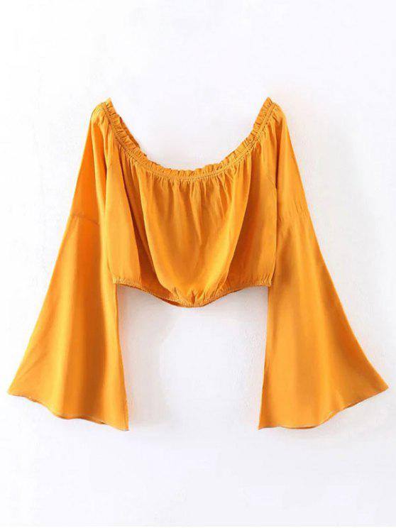 affordable Off Shoulder Bell Sleeve Crop Top - YELLOW S