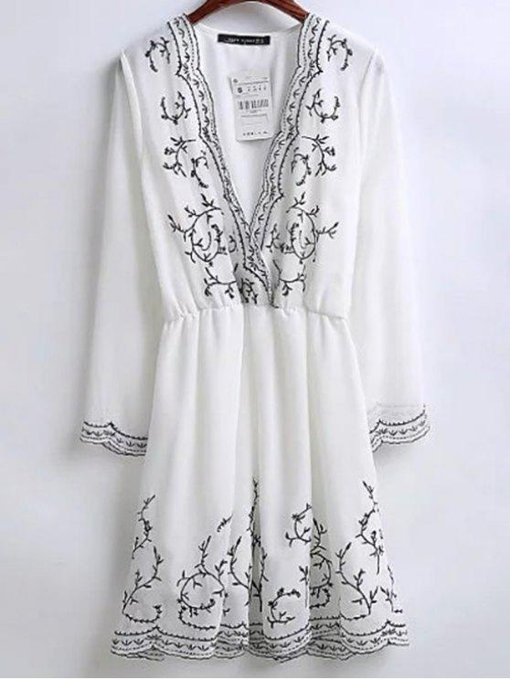 shops Embroidered Surplice Holiday Dress - WHITE L