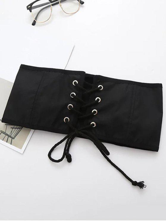 women's Lace Up Waist Corset - BLACK M