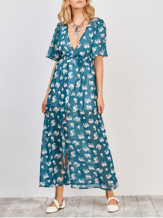 الأزهار التفاف فستان ماكسي - أزرق أخضر M