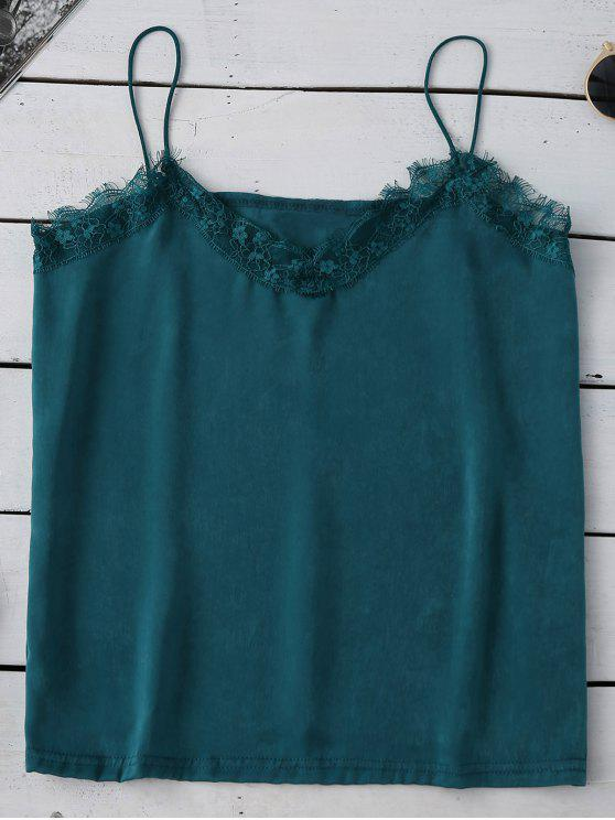 women's Satin Lace Trim Cami Top - MALACHITE GREEN M