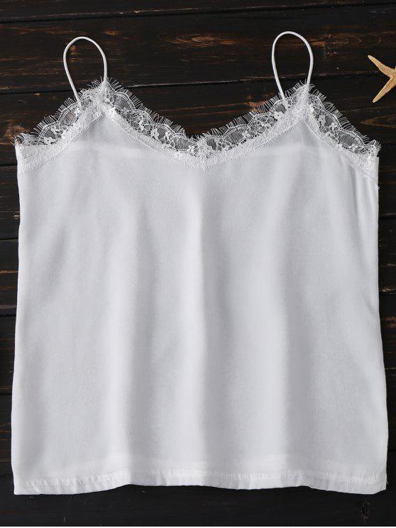 سترة رباط الفنلة بدنيلة المخرمات بنسيج الحرير - أبيض XL