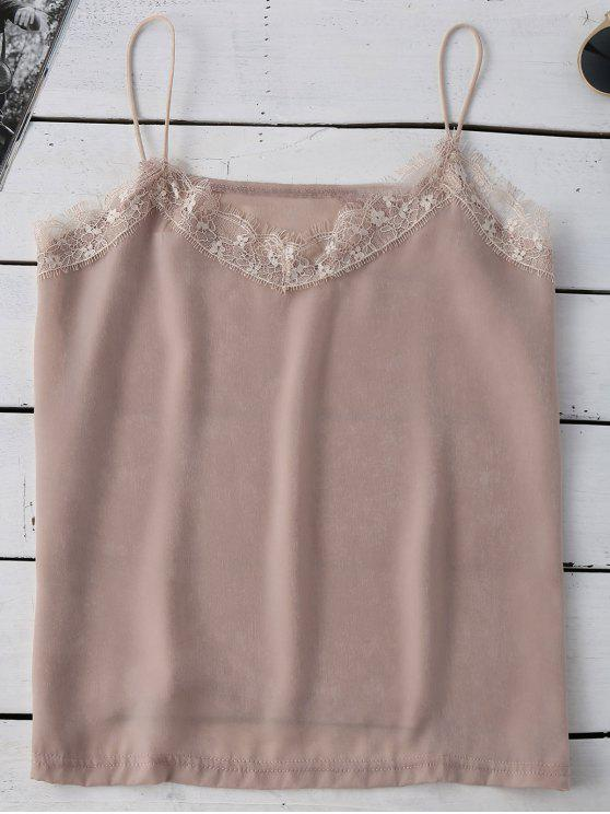 Satén con borde de encaje Cami - Rosa beige  L