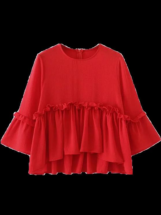 trendy Ruffle Hem Smock Top - RED L