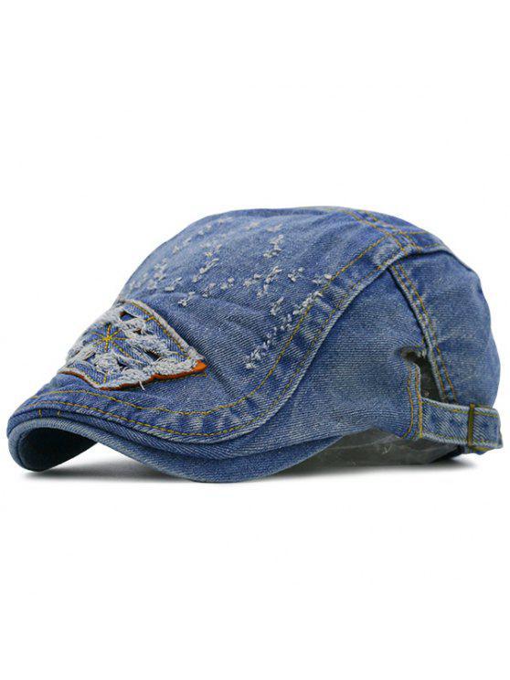 Cappello Piatto Con Motivo A Lettere In Denim Sfilacciato - Blu Medio