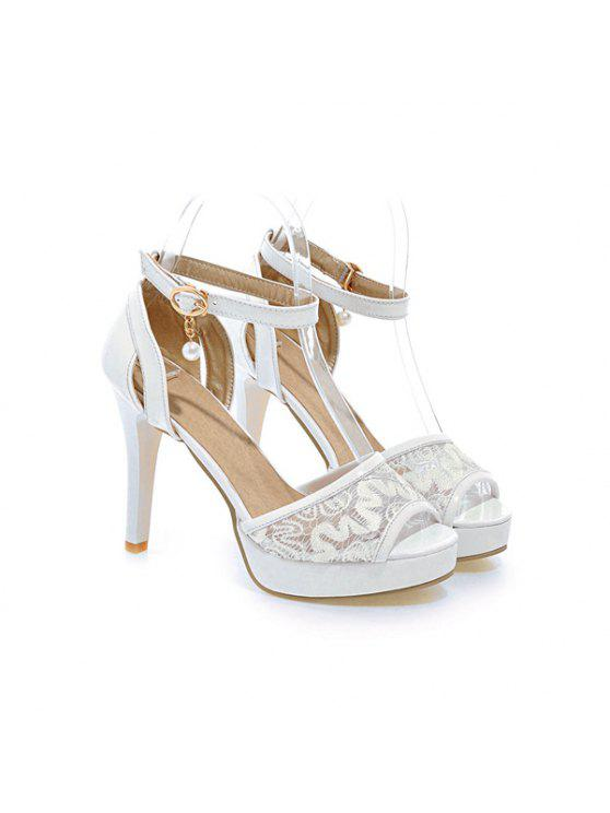 womens Mesh Ankle Strap Sandals - WHITE 39