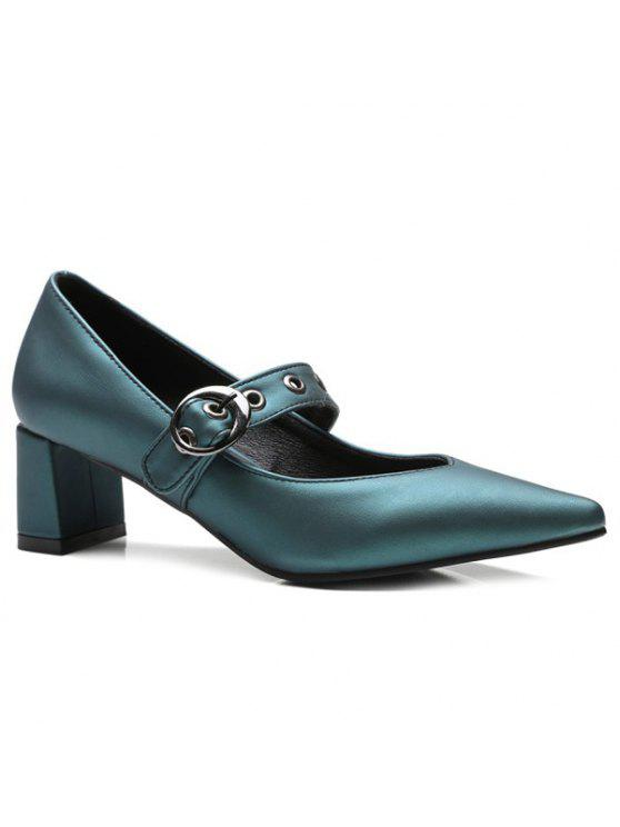 affordable Block Heel Eyelets Pumps - BLACKISH GREEN 37