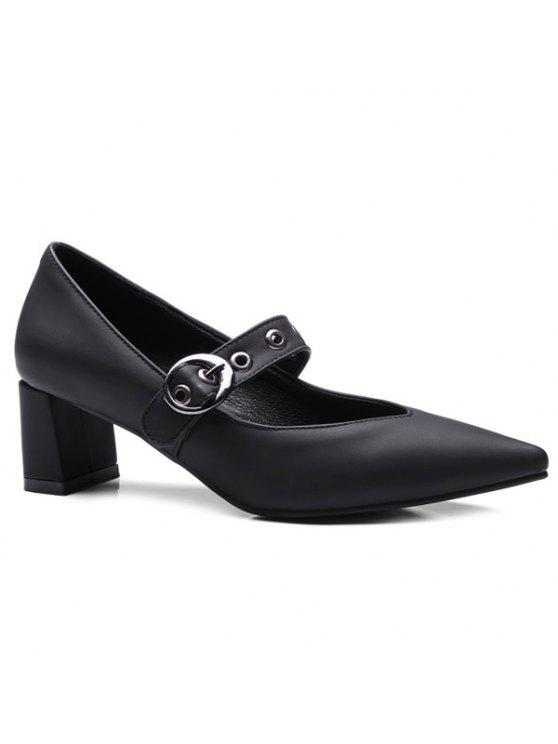 buy Block Heel Eyelets Pumps - BLACK 38