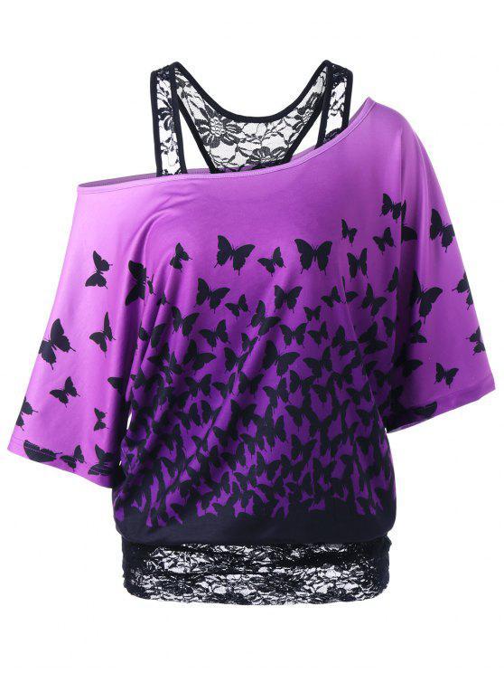 T-Shirt à Motif Papillon à Encolure Cloutée Dos Coureux - Noir et Violet 2XL