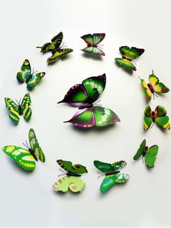 12 قطع محاكاة فراشة ديكور المنزل ملصقات الحائط - أخضر