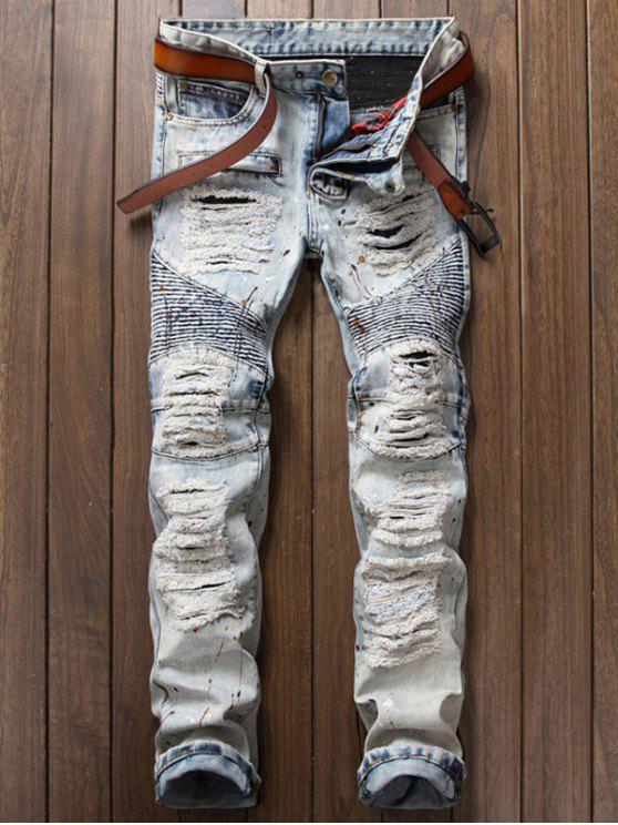 c424b713ad Paint Splatter Ripped Biker Jeans