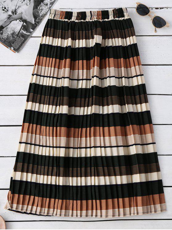 Rayada elástico con cintura falda plisada - Colormix Única Talla