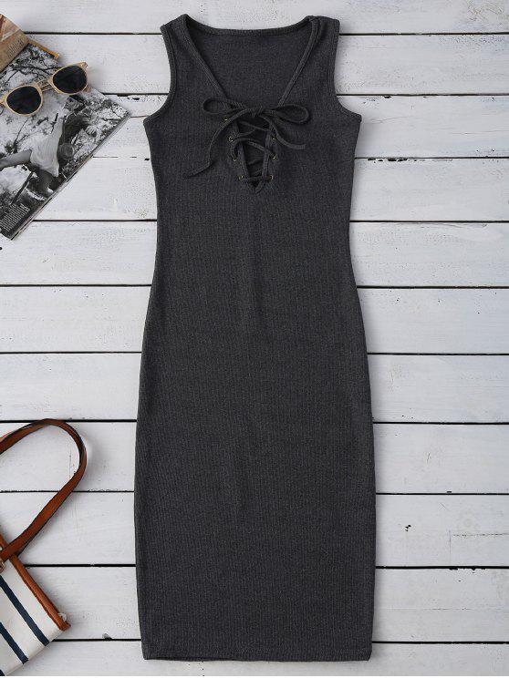 Vestido Acanalado Ceñido con Cordón Combinado - Gris Oscuro Única Talla