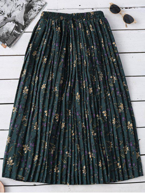 Tiny floral plisada falda de Midi - Verde Única Talla
