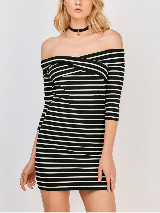 buy Off The Shoulder Stripe Casual Dress - WHITE AND BLACK S