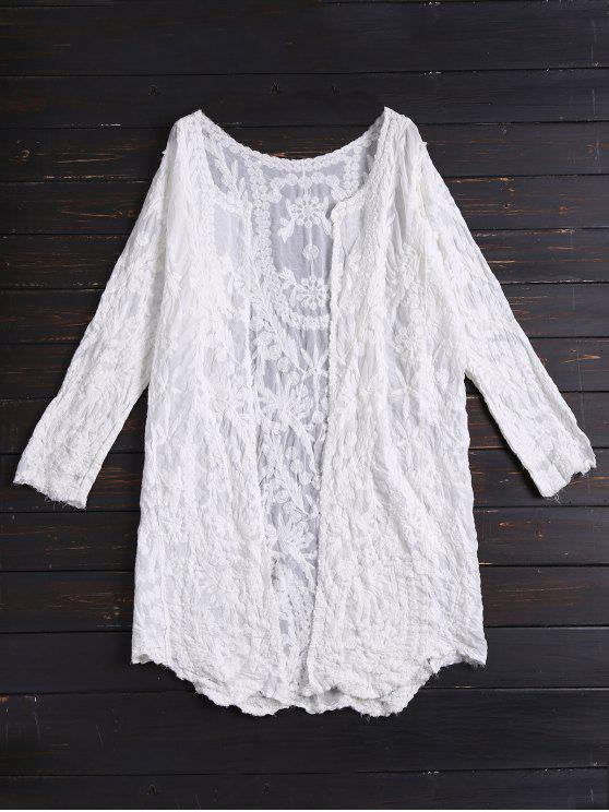 chic Long Sleeves Embroidered Cover Up - WHITE ONE SIZE
