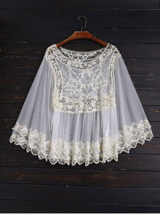 fancy Crochet and Tulle Sheer Cover Up - OFF-WHITE ONE SIZE
