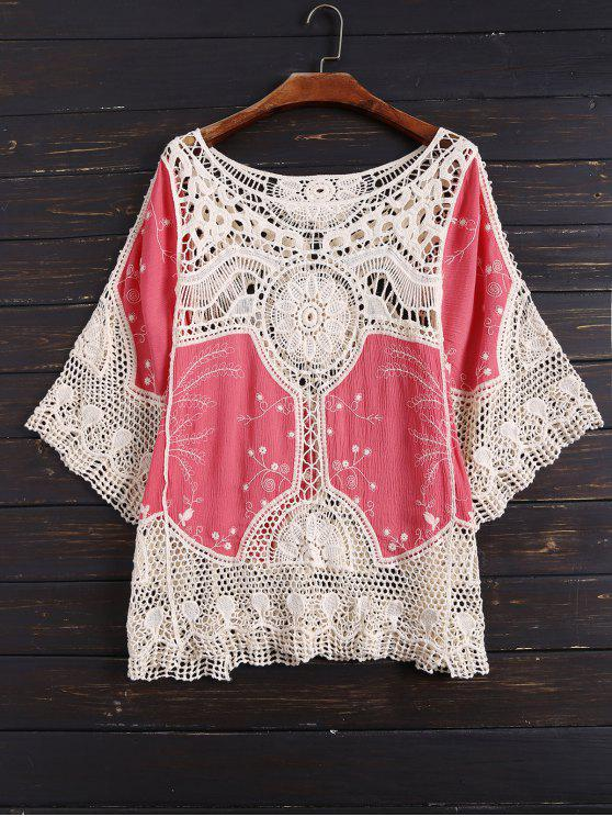 trendy Crochet Panel See Thru Top - WHITE AND RED ONE SIZE