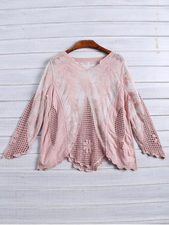 4f957e4d762dc5 27% OFF] 2019 Long Sleeves Sheer Crochet Lace Top In PINK   ZAFUL