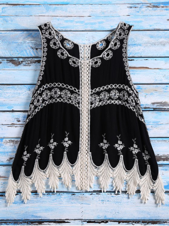 sale Sleeveless Cut Out Crochet Cover Up - BLACK ONE SIZE