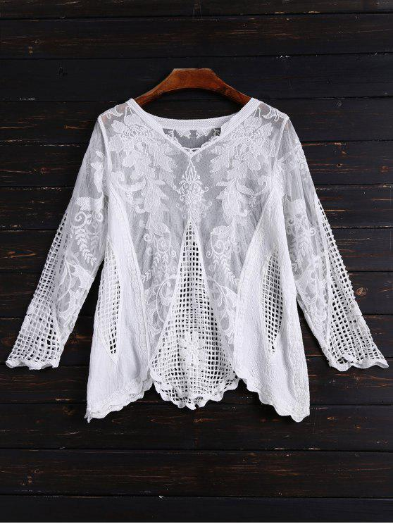 buy Long Sleeves Sheer Crochet Lace Top - WHITE ONE SIZE