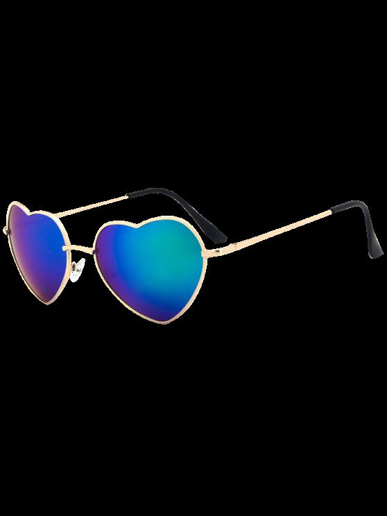 شكل قلب مرآة النظارات الشمسية - أزرق أخضر