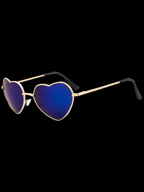 شكل قلب مرآة النظارات الشمسية - أزرق