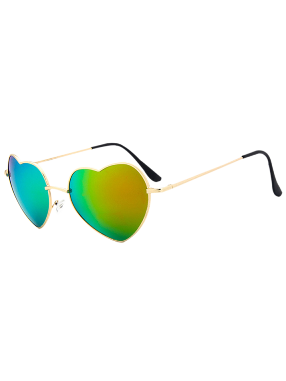 شكل قلب مرآة النظارات الشمسية - أخضر