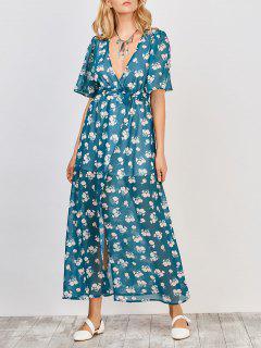 Robe Maxi Florale Ajustée - Bleu Vert Xl