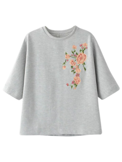 Suelta La Camiseta Bordada Floral - Gris S