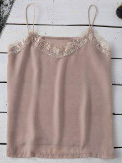 Satin Lace Trim Cami Top - Pinkbeige Xl