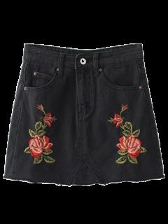 Rose Embroidered Denim Skirt - Black S