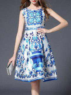 Sleeveless High Waist Printed Dress - Blue And White L