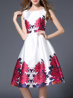 Impresión Floral Vestido Sin Mangas De La Llamarada De Cintura Alta - Blanco S