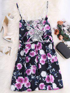 El Recuadro Floral De Encaje Mini Vestido Redondo Scoop - Azul Purpúreo Xl