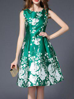 Floral Printed High Waist Flare Dress - Green 2xl