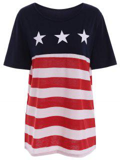 American Flag Print Plus Size Tee - Stripe 4xl