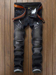 Slim Fit Jeans Zerrissene Biker - Schwarz 33