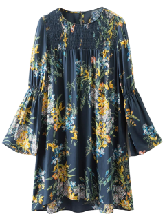 Flare Manches Floral Robe Tunique - Cadetblue S