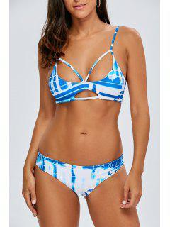 Strappy Tie-Dyed Bikini Set - Blue S