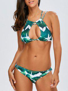 Bikini à Encolure Trou De Serrure Plongeante à Bretelles Tressées Et Entrecroisées - Blanc Et Vert S