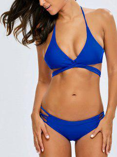 Strappy Cutout Crossover Bikini Set - Blue S