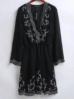 Embroidered Surplice Holiday Dress - Black L