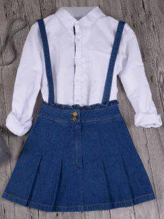 Ruffles Suspender Denim Skirt - Deep Blue S