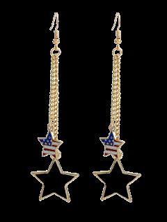 Boucles D'oreilles à Pendants D'étoiles Imprimées Du Drapeau Américain - Or