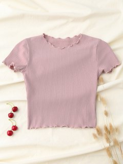 Cropped Flounced T-Shirt - Pink S
