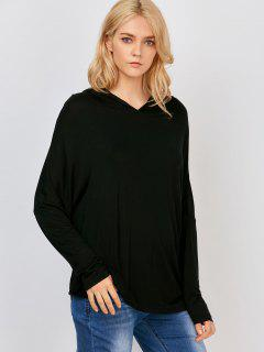 Batwing Sleeve Hooded T-Shirt - Black S