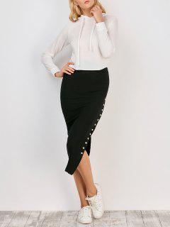 Knitted Side Button Skirt - Black S